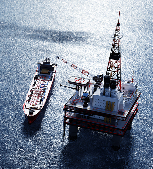 Ship arriving at oil station in ocean